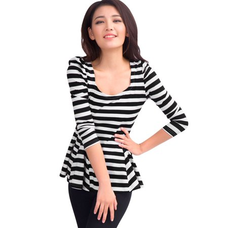 Striped Puff Sleeve Top - Unique Bargains Women's Long Puff Sleeves Scoop Neck Stripes Peplum Top