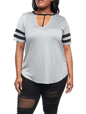 68d9f6ba2a1 Product Image Womens Plus Size Short Stripe Sleeve V-Neck Choker T-Shirts  XT52327. Genx