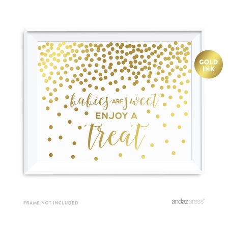 Metallic Gold Confetti Polka Dots 8.5x11-inch Party Sign, Babies Are Sweet, Enjoy a Treat, Unframed