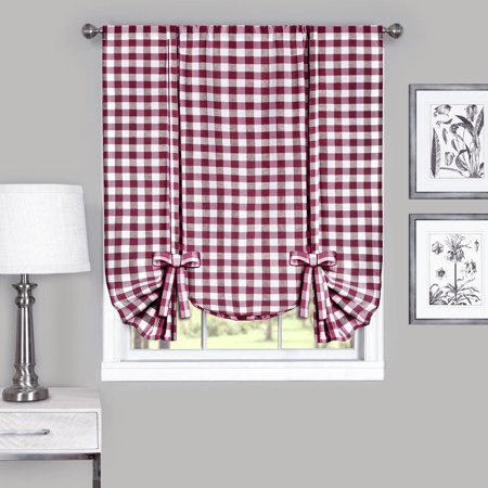 Red Gingham Check (Achim Buffalo Check Window Curtain Tie Up Shade -)