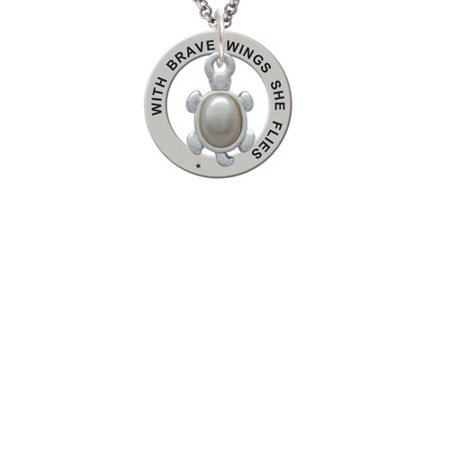 Turtle with Imitation Pearl Shell Brave Wings Affirmation Ring Necklace](White Shell Necklace)