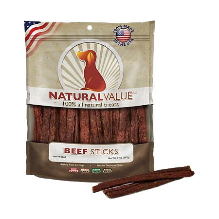 Natural Value Soft Chew Healthy Dog Treats - Beef Sticks. 14 oz - Healthy Halloween Treats For Classroom