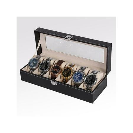 Glass Top Watch Storage Case (6 Grid Slots Watch Box Glass Top Display Jewelry Organizer Storage Leather)