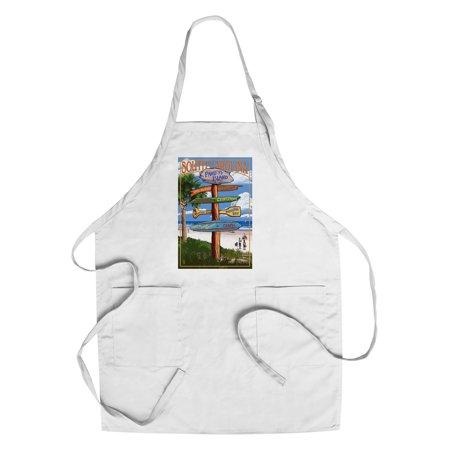 Pawleys Island, South Carolina - Destinations Sign - Lantern Press Artwork (Cotton/Polyester Chef
