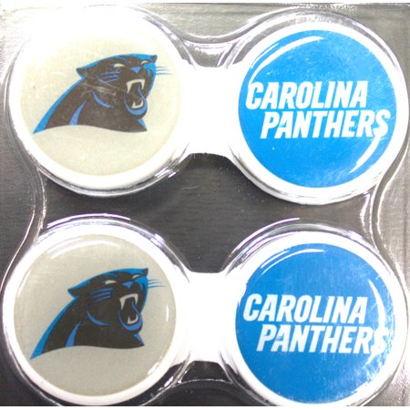 Carolina Panthers 2 Pack Contact Lens Case Support your favorite NFL team and the health of your eyes. Get these protective contact lens case. Featuring your favorite NFL team, plastic, screen printed logo and team color, contact lens holder. Makes a great gift, so get them while supplies last.