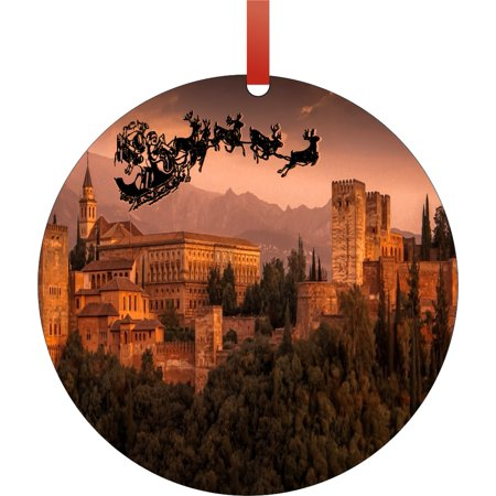 Santa Klaus and Sleigh Riding Over The Alhambra, Granada, Spain Round Shaped Flat Semigloss Aluminum Christmas Ornament Tree Decoration - Unique Modern Novelty Tree Décor Favors ()