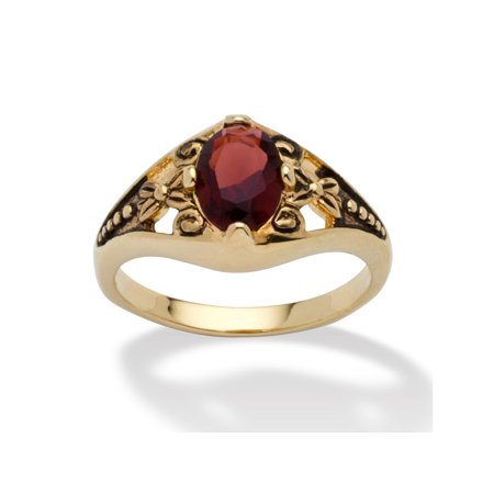 Oval-Cut Birthstone Filigree Ring in Antiqued 14k Gold-Plated - January- Simulated