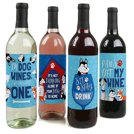Pawty Like a Puppy - Dog Baby Shower or Birthday Party Decorations for Women and Men - Wine Bottle Label Stickers - Set of 4](Puppy Dog Birthday Decorations)