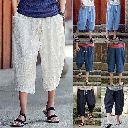 SUNSIOM Men's Casual Loose Drawstring Harem Drop Crotch Linen Trousers Short Beach Pants Black Short Pants