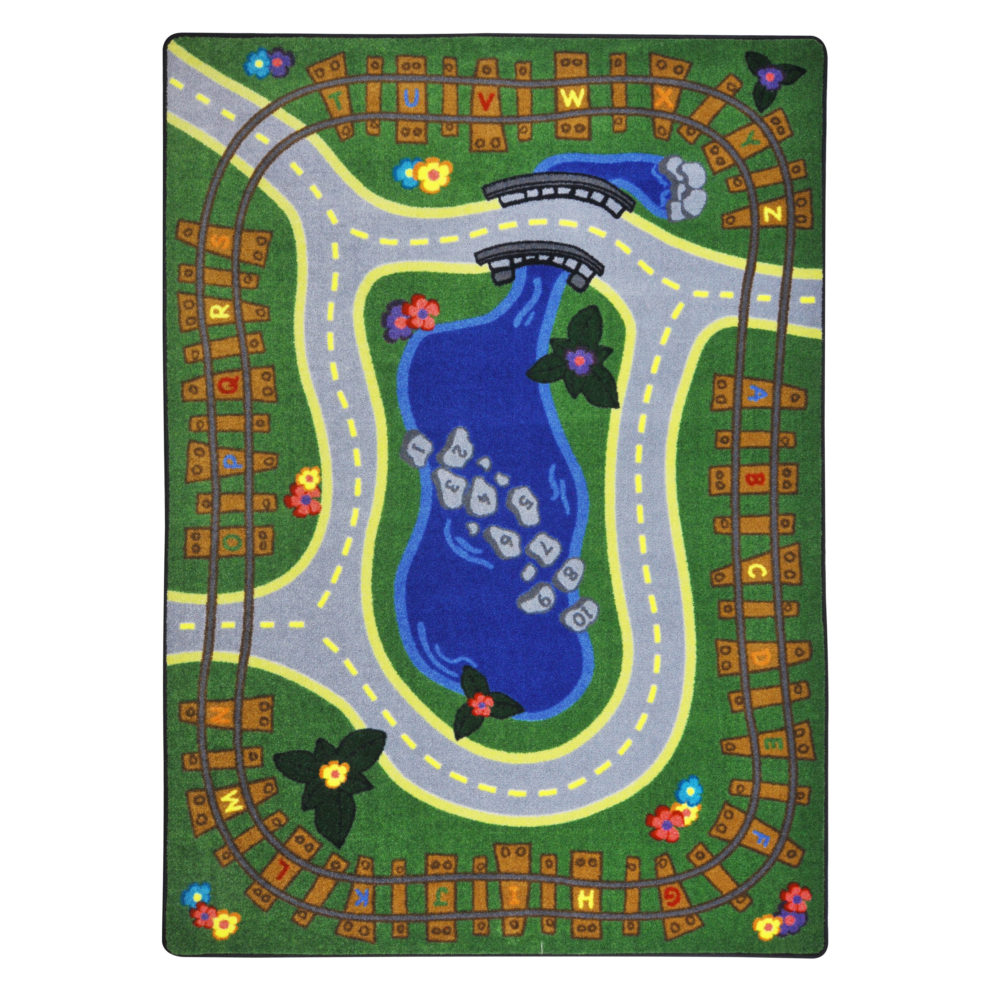Joy Carpets Kid Essentials Alphabet Express Green Area Rug