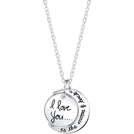 "Believe by Brilliance Women's Sterling Silver ""I Love You to the Moon & Back"" Pendant Necklace, 18"""