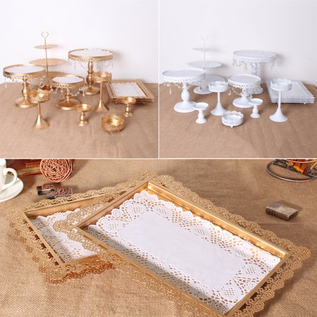 Meigar Wedding Display ?12Pcs Set Crystal Metal Cake Holder Cupcake Stand Birthday Wedding Party Display