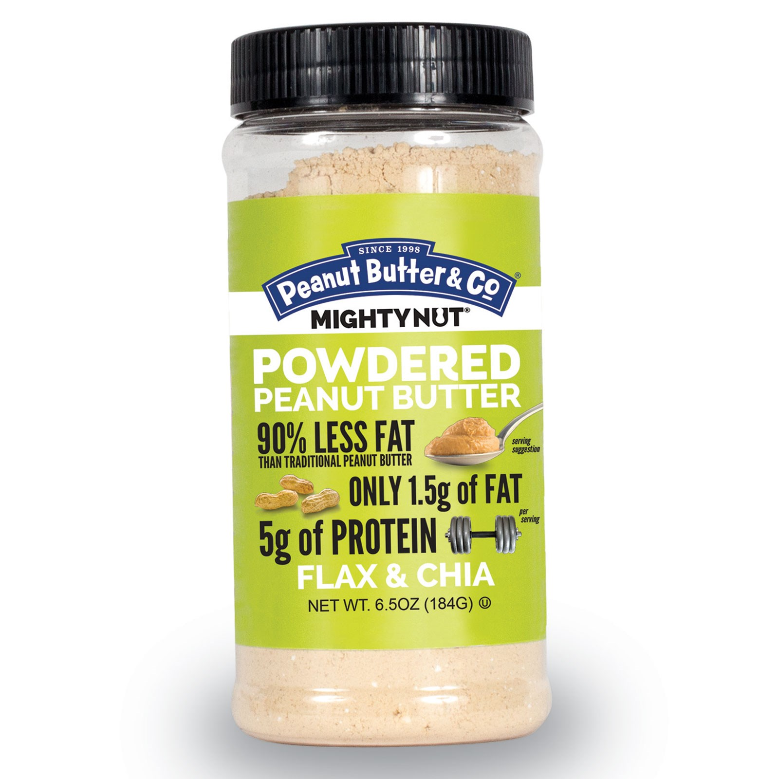 Peanut Butter & Co., Mighty Nut, Powdered Peanut Butter, Flax & Chia, 6.5 oz. (pack of 3)