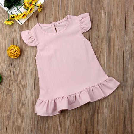 Toddler Girl Chiffon Dress Frill Sleeve Fly Skirt Dress Baby Girls Spring -