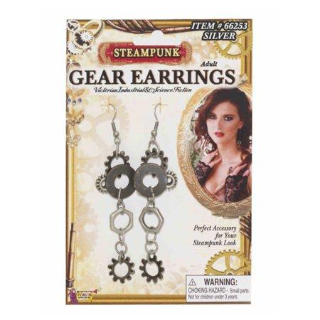 Womens Western Cowboy Steampunk Gear Silver Earrings Costume Accessories