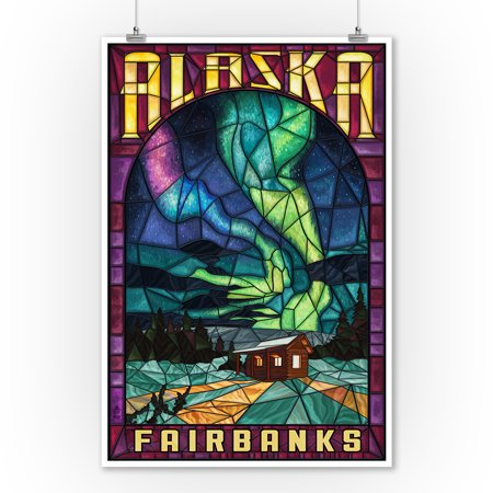 Fairbanks, Alaska - Cabin & Northern Lights Stained Glass - Lantern Press Poster (9x12 Art Print, Wall Decor Travel Poster)