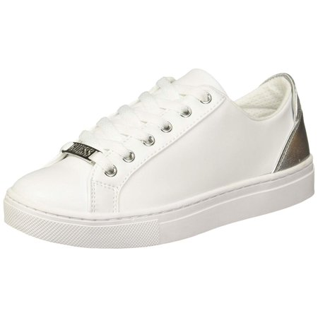 Guess Womens Jacaly Leather Low Top Lace Up Fashion Sneakers, White Ll, Size 6.0