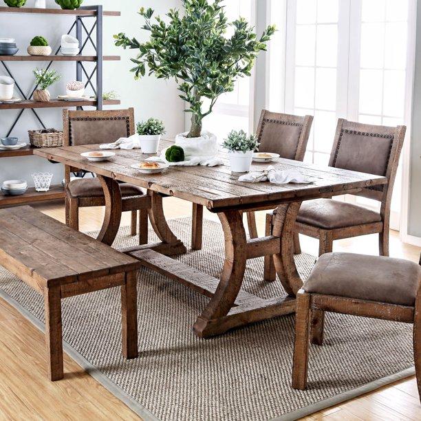 Furniture Of America Sail Rustic Pine Solid Wood Dining Table Walmart Com Walmart Com