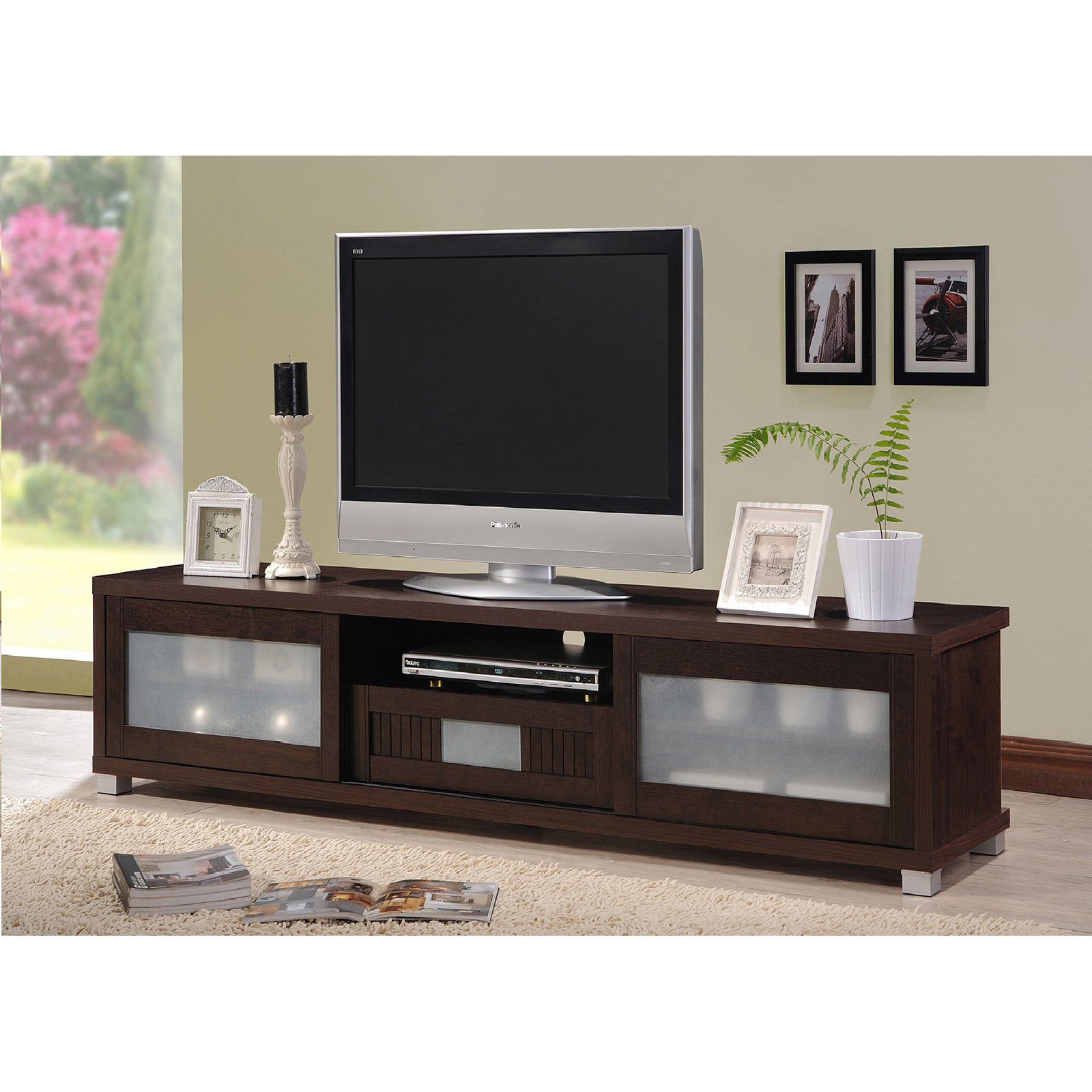 Baxton Studio Gerhardine Dark Brown Wood 70 Inch Tv Cabinet With 2 Sliding Doors And Drawer