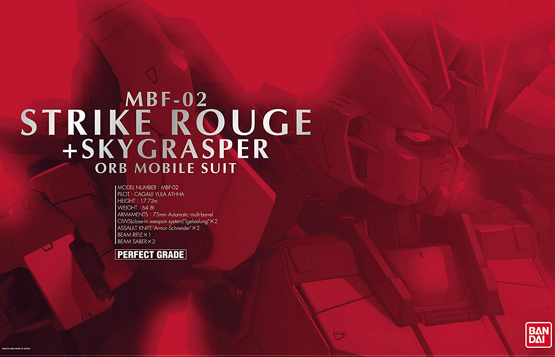 Bandai Hobby Perfect Grade MBF-02 Strike Rouge + Skygrasper Gundam PG 1 60 Model by Bandai Hobby
