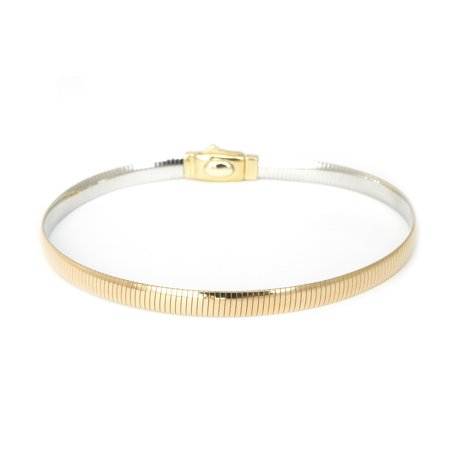14k White and Yellow Gold Reversible Omega Chain Necklace or Bracelet