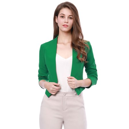 Women's Work Office Business Casual Collarless Cropped Blazer - Kids Green Blazer