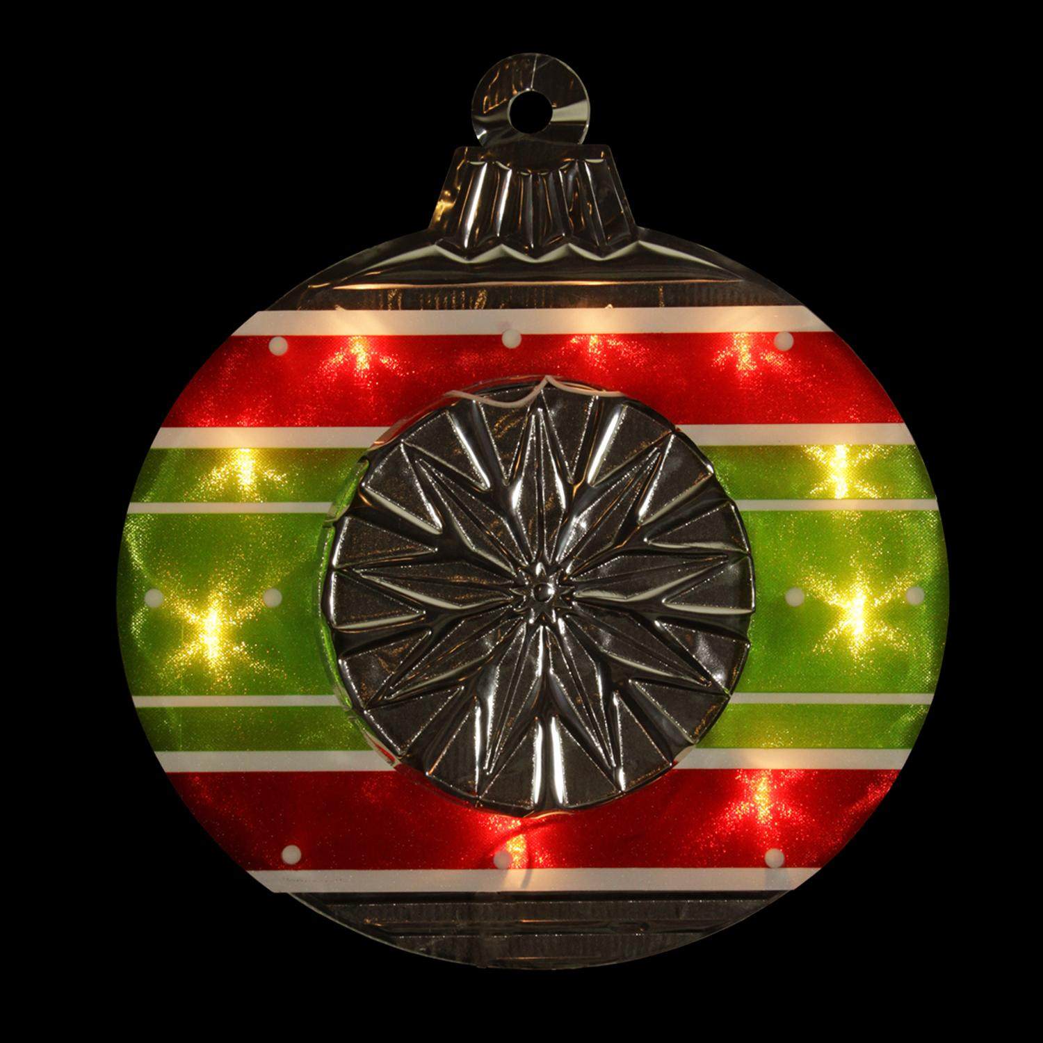 """15.5"""" Lighted Shimmering Red, Green, White & Silver Ornament Christmas Window Silhouette Decoration"""