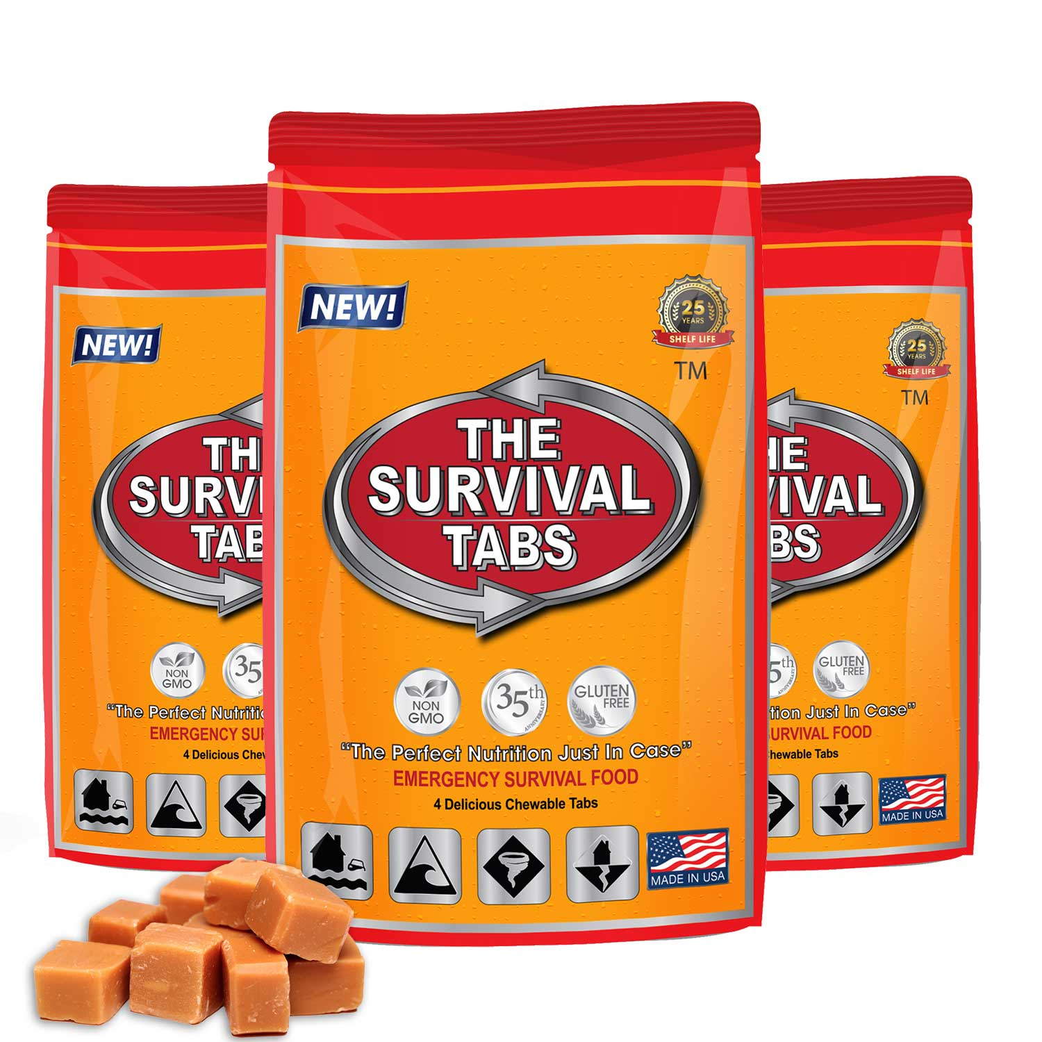 Survival Tabs 1 Day 12 Tabs Emergency Food Survival MREs Meal Replacement for Disaster Preparedness Gluten Free and Non-GMO 25 Years Shelf... by