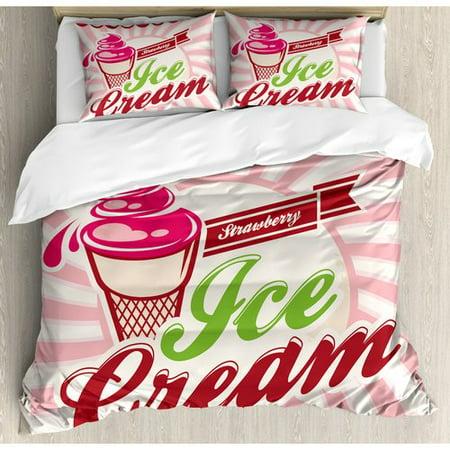 Ambesonne Ice Cream Retro Strawberry Logo Homemade Pop Art Duvet Cover Set - Walmart.com