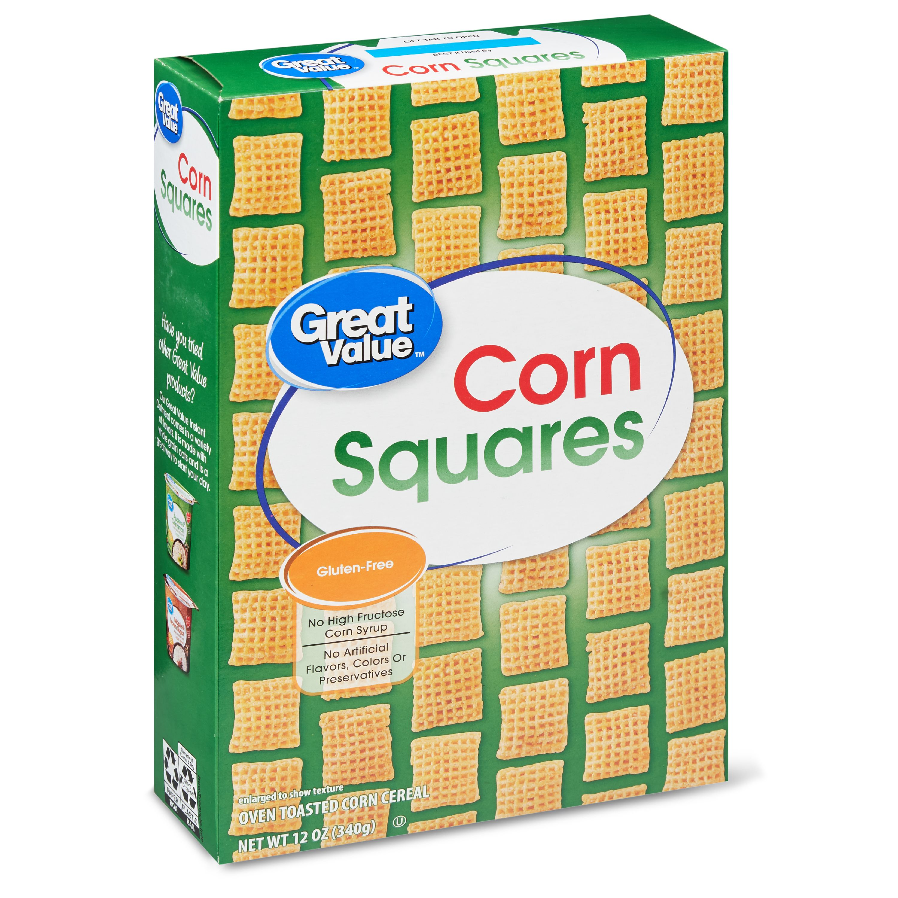 Great Value Corn Squares Cereal, 12 Oz