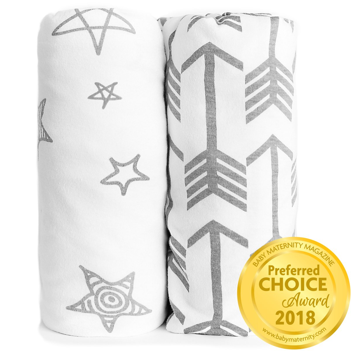 Kids N' Such Fitted Crib Sheet Set - Premium Jersey Knit Cotton - Super Soft - Safe for Babies - Crib Sheets for a Standard Baby or Toddler Mattresses - Baby Shower Gift - Arrow and Stars 2 Pack