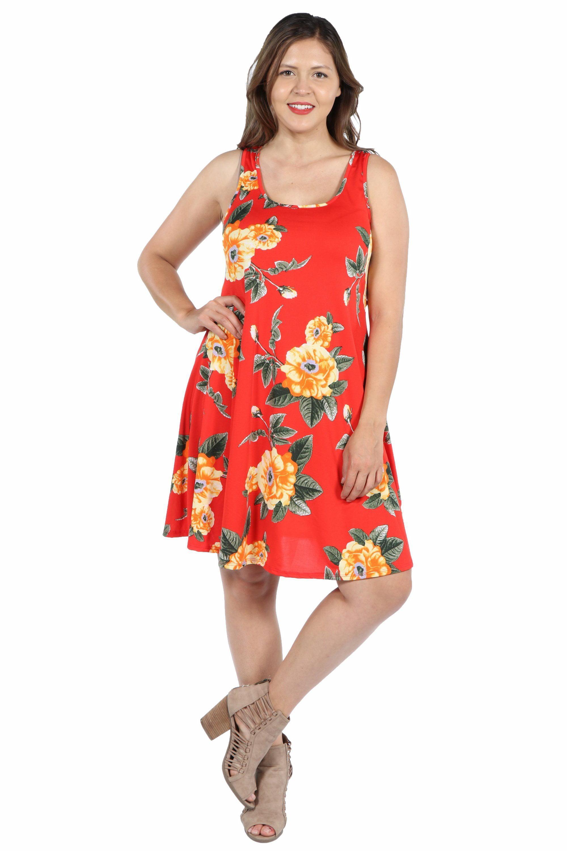 24Seven Comfort Apparel Alicia Red Floral Plus Size Mini Dress