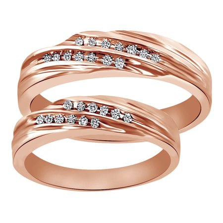 - White Natural Diamond His And Hers Wedding Band Ring Set in 14K Rose Gold (0.14 Cttw)