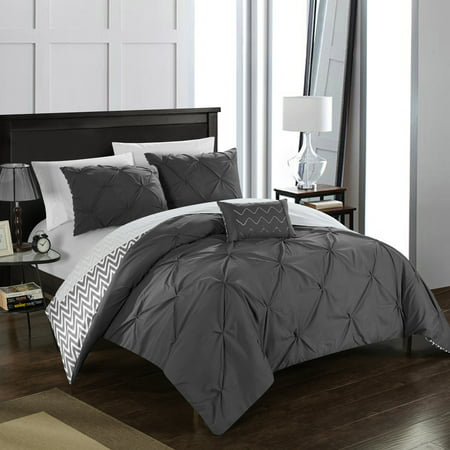 Chic Home 4-Piece Erin Pinch Pleated, REVERSIBLE Chevron Print ruffled and pleated complete King Comforter Set Grey Shams and Decorative Pillows included ()