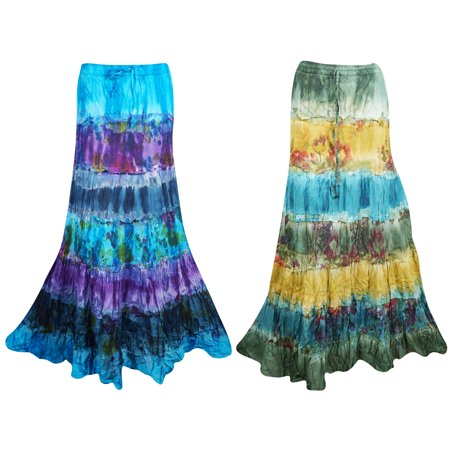 Mogul Tie Dye Cotton Tiered Summer Style A-Line Gypsy Skirts ()