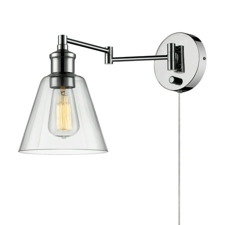 Globe Electric Watt Leclair 1 Light Chrome Plug In Or Hardwire Industrial Wall Sconce