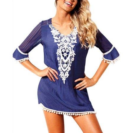 70s Dress Up (Maraso Women Summer Short Sleeve Chiffon Lace Splicing Beach Bikini Cover Up)