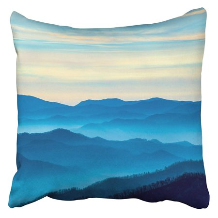 CMFUN Blue Fog View of the Smoky Mountains From Route 441In Newfound Gap in Tennessee Foggy Pillow Case Cushion Cover 20x20 inch (Tennessee Volunteers Square Pillow)