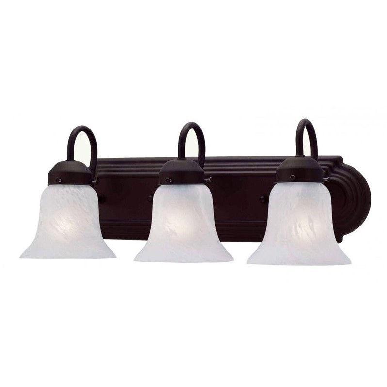Livex Lighting 1073-07 Home Basics 3 Light Vanity Bronze with White Alabaster Glass