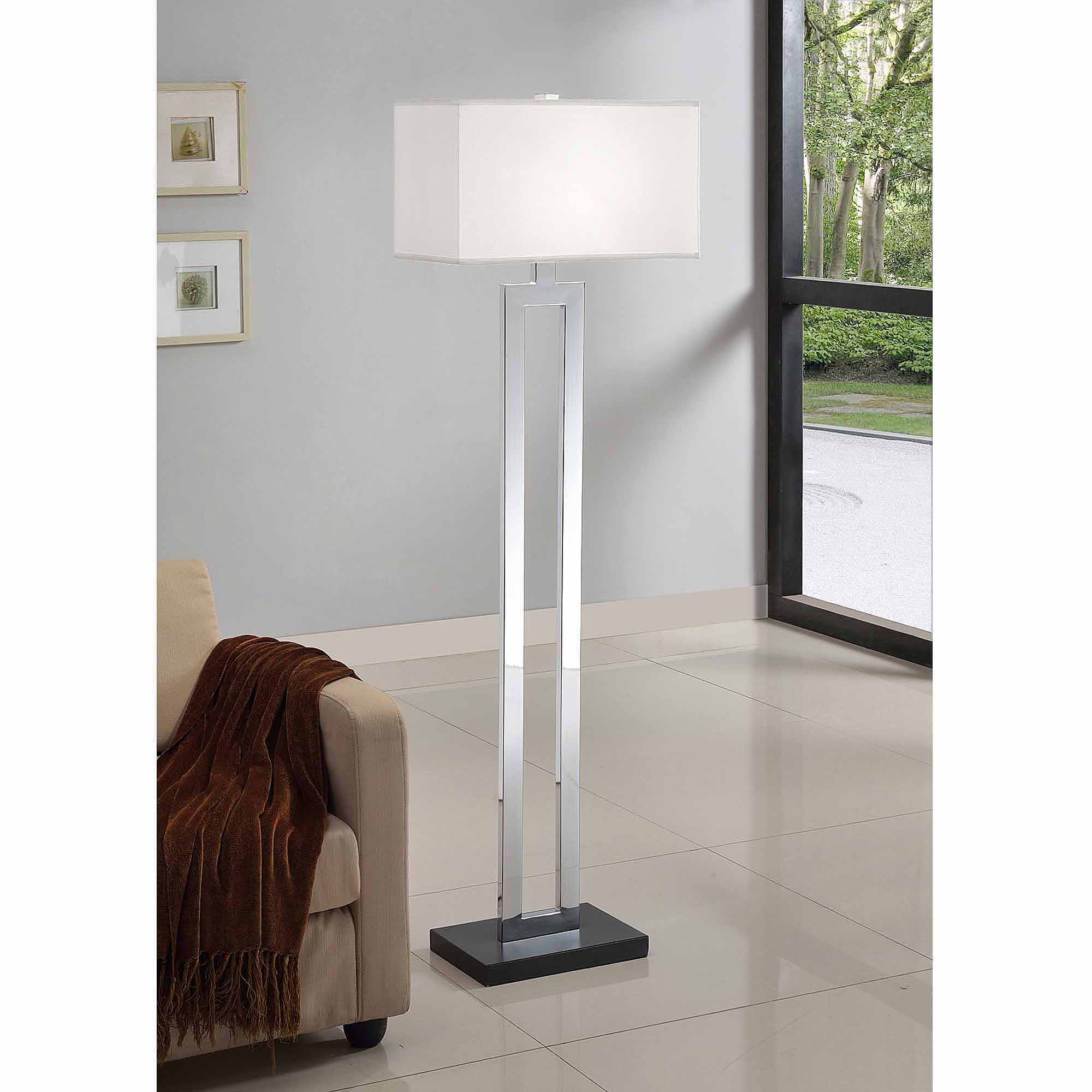 "Artiva USA 60"" Geometric Modern Chrome/Black Floor Lamp"