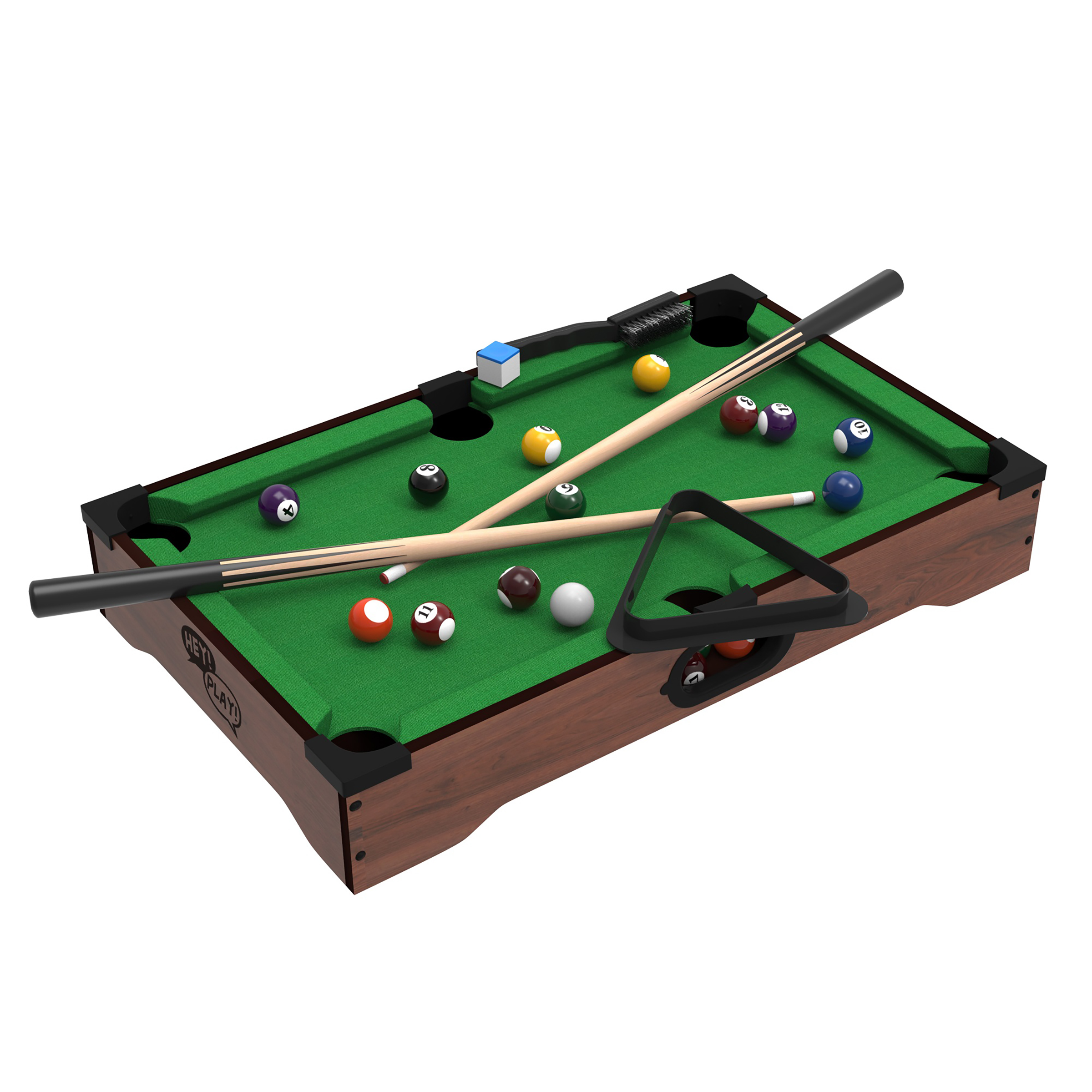 Mini Tabletop Pool Set  Billiards Game Includes Game Balls, Sticks, Chalk,  Brush