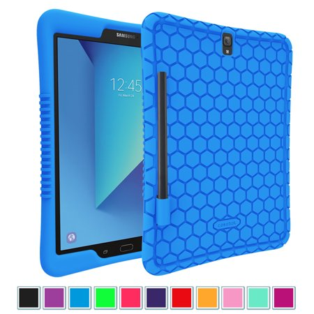 new products 564d7 5d444 For Samsung Galaxy Tab S3 9.7 Case, Light Weight Shock Proof Silicone Cover  w/ S Pen Holder SM-T820/T825/T827, Blue