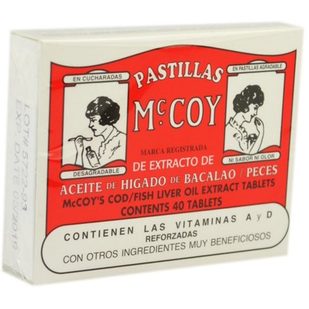 2 Pack   Pastillas Mccoy Cod   Fish Liver Oil Extract Tablets 40 Ea