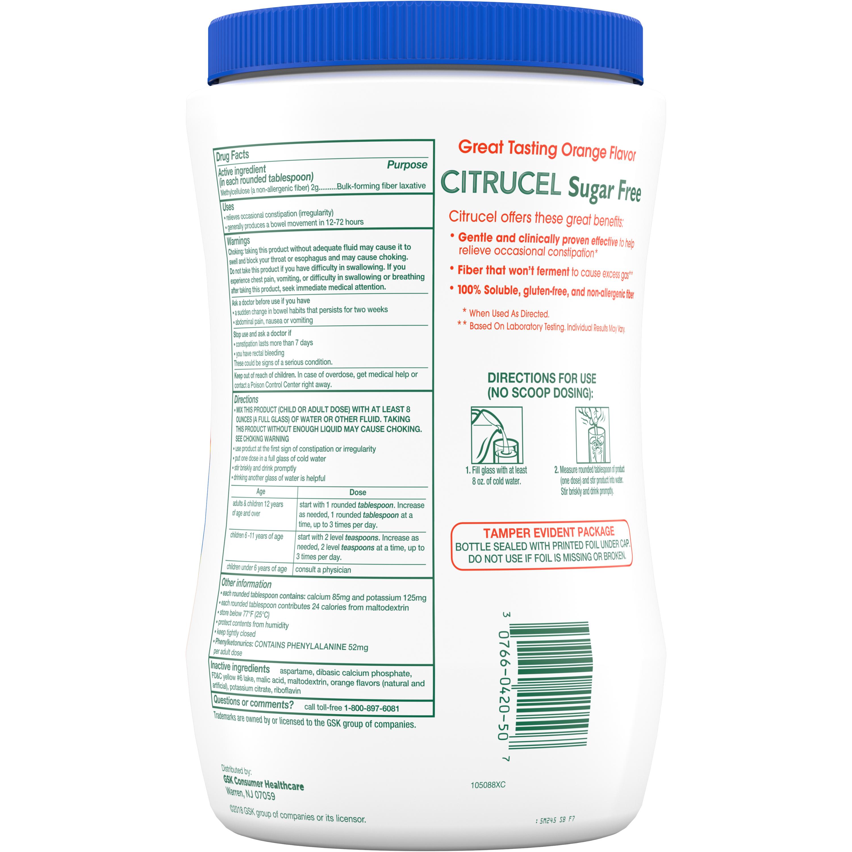 Citrucel Powder Sugar Free Orange Flavor Fiber Therapy For Occasional Constipation Relief 32 Ounce Walmart Com Walmart Com