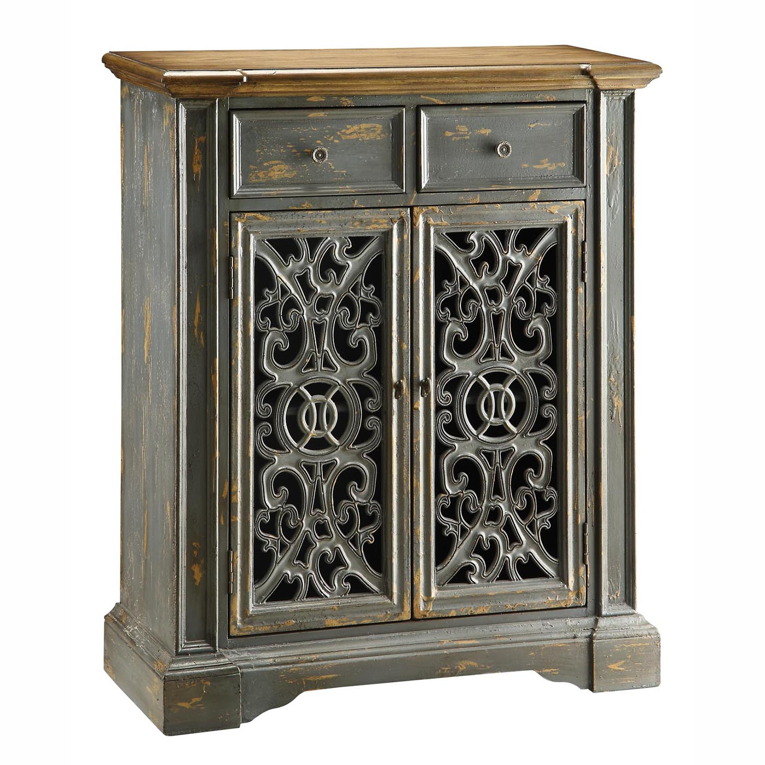 Beau Crestview Chatsworth Pierced One Door Cabinet In Gray