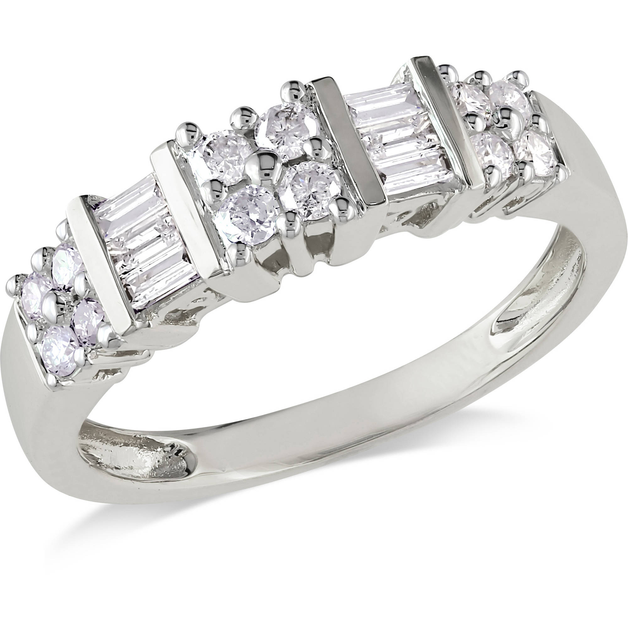 1 2 CT. T.W. Round and Baguette-Cut Diamond Wedding Band in 10kt White Gold by Delmar Manufacturing LLC