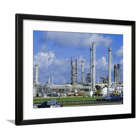 Oil Refinery on Bank of Mississippi Near Baton Rouge, Louisiana, USA Framed Print Wall Art By Anthony