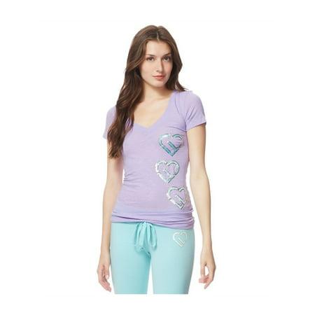 Aeropostale Hearts (Aeropostale Juniors Sequin Hearts Embellished T-Shirt 530 L - Juniors)