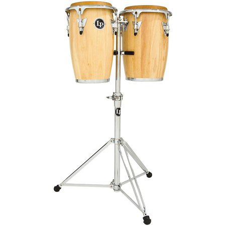 Requinto Conga - LP Junior Wood Congas with Chrome Hardware and Stand Natural