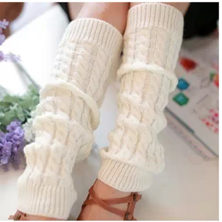 Women Winter Knit Crochet Leg Warmers Knitted Leggings Stocking Girls, White (Stocking Legs)